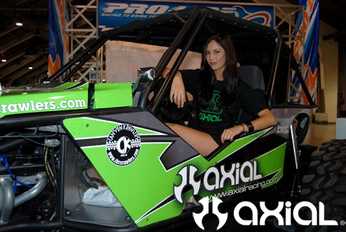 Ashley Sarto in the Axial 1:1 Rock Crawler